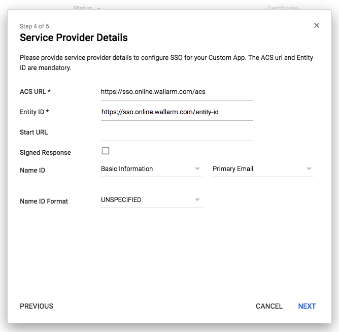 Filling in service provider information