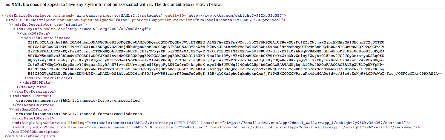 Example of XML-formatted metadata