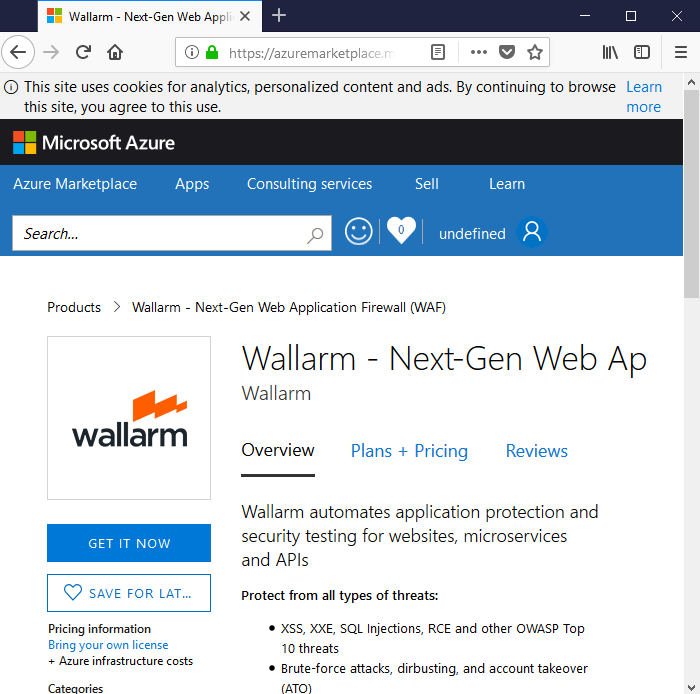 Wallarm on Azure Marketplace