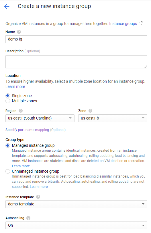 Creating an instance group