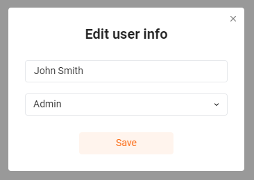 User info editing form