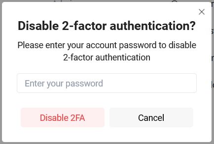 Disabling 2-factor authentication